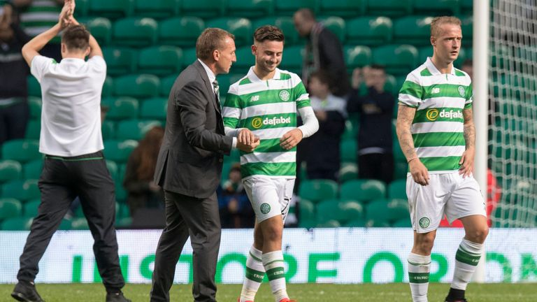 Celtic manager Brendan Rodgers shakes the hand of Patrick Roberts