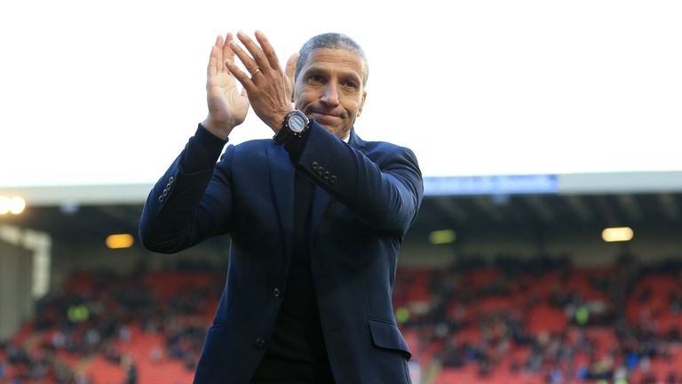 Brighton boss Chris Hughton was honoured for winning promotion to England's top tier