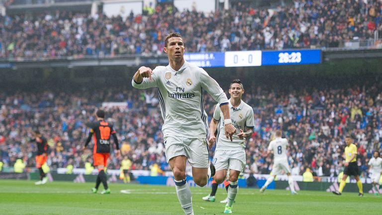 Cristiano Ronaldo celebrates scoring the opener at the Bernabeu