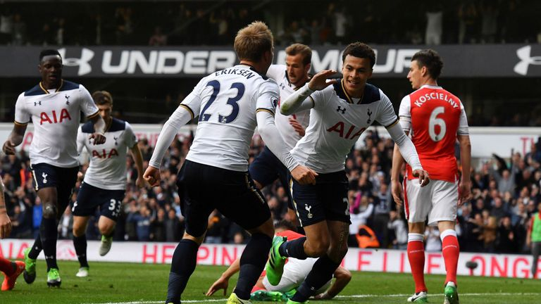 Dele Alli goal celeb, Tottenham v Arsenal, Premier League