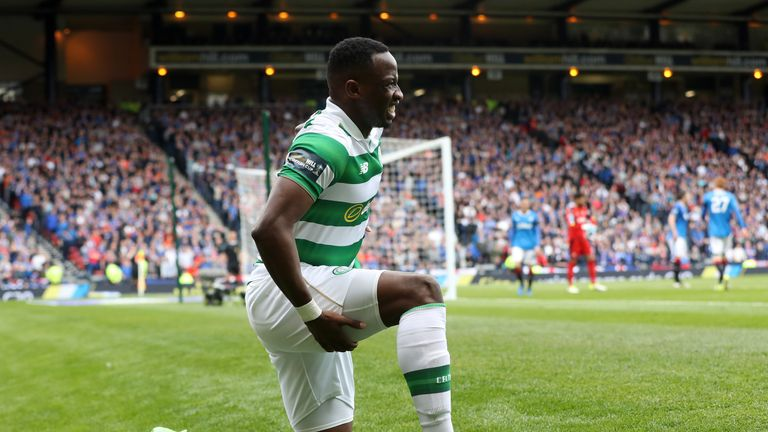GLASGOW, SCOTLAND - APRIL 23:  Moussa Dembele of Celtic reacts after his injury during the Scottish Cup Semi-Final match between Celtic and Rangers at Hamp