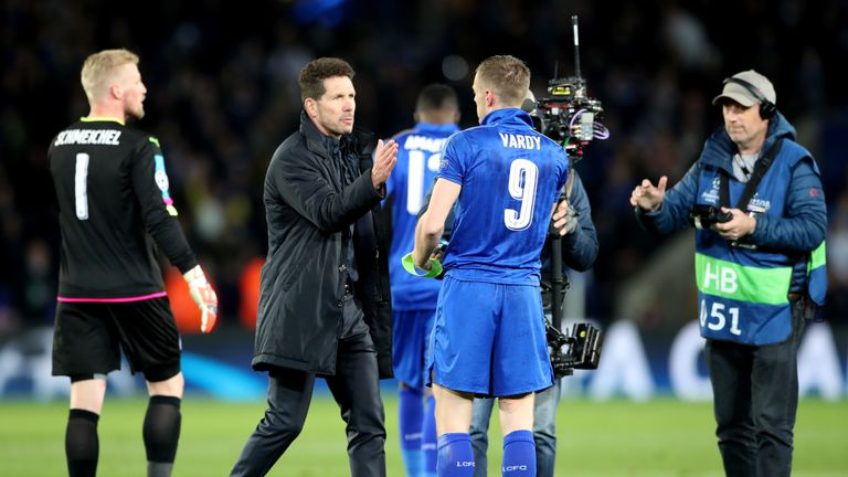 Atletico Madrid manager Diego Simeone goes to shake hands with Leicester City's Jamie Vardy after the second leg of the UEFA Champions League quarter final