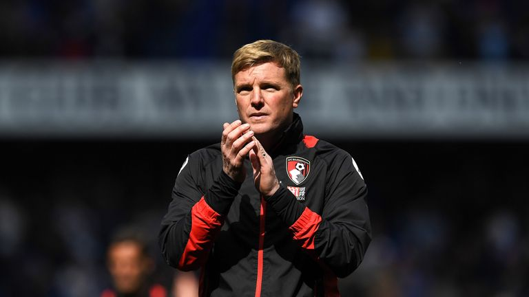 Eddie Howe applauds the travelling fans after the 4-0 defeat to Tottenham