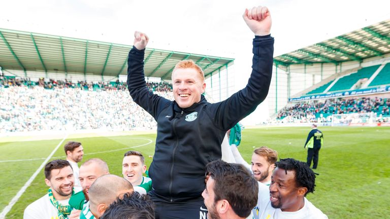 Hibernian manager Neil Lennon celebrates at full time