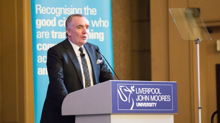 Ian Ayre speaking at the Liverpool John Moores University's Roscoe Lecture Series at St George's Hall