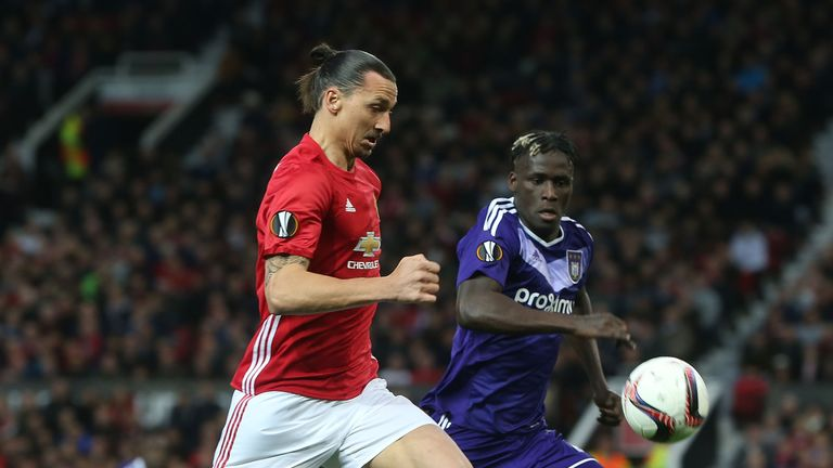 Zlatan Ibrahimovic of Manchester United in action with Alexandru Chipciu of RSC Anderlecht during the UEFA Europa League quarter final