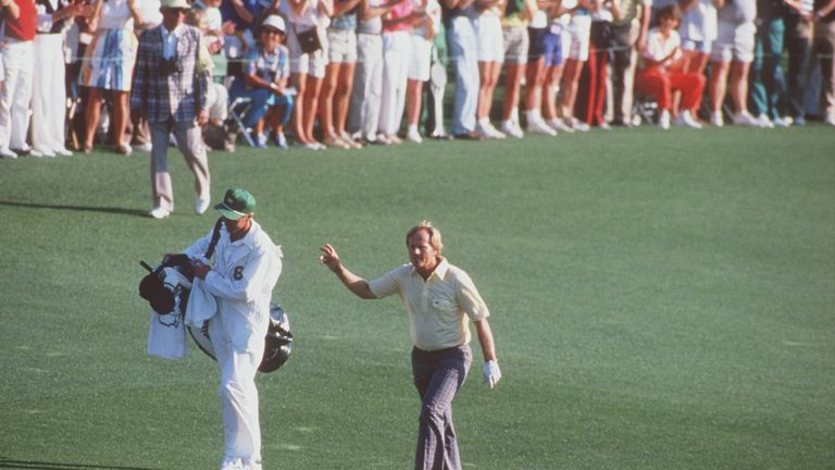 Jack Nicklaus walks up the final fairway before being crowned Masters champion for the sixth time in 1986