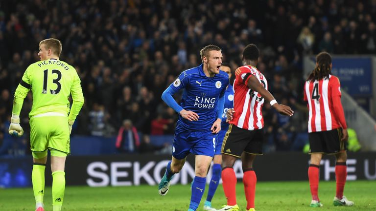 LEICESTER, ENGLAND - APRIL 04: Jamie Vardy of Leicester City celebrates scoring his sides second goal during the Premier League match between Leicester Cit