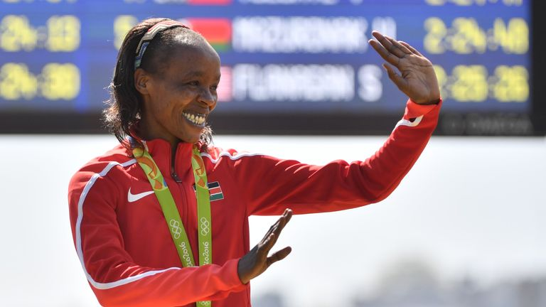 Jemima Sumgong won gold in the marathon at the Rio Olympics