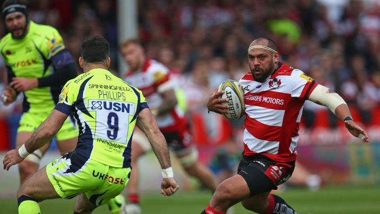 John Afoa on the charge for Gloucester