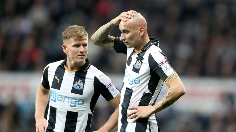 Newcastle duo Matt Ritchie (left) and Jonjo Shelvey may return against Arsenal