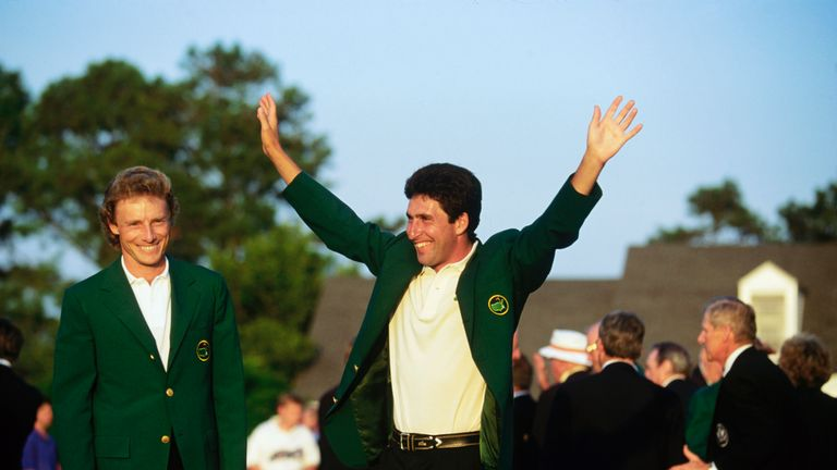 Jose Maria Olazabal celebrates his first Masters victory in 1993