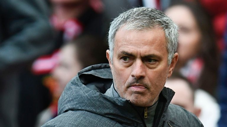 Manchester United's Portuguese manager Jose Mourinho leave the pitch at half-time during the English Premier League football match between Manchester Unite