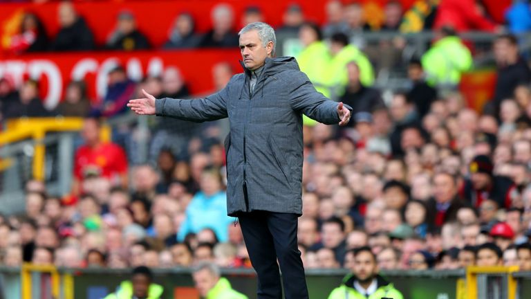 MANCHESTER, ENGLAND - APRIL 01: Jose Mourinho, Manager of Manchester United reacts during the Premier League match between Manchester United and West Bromw