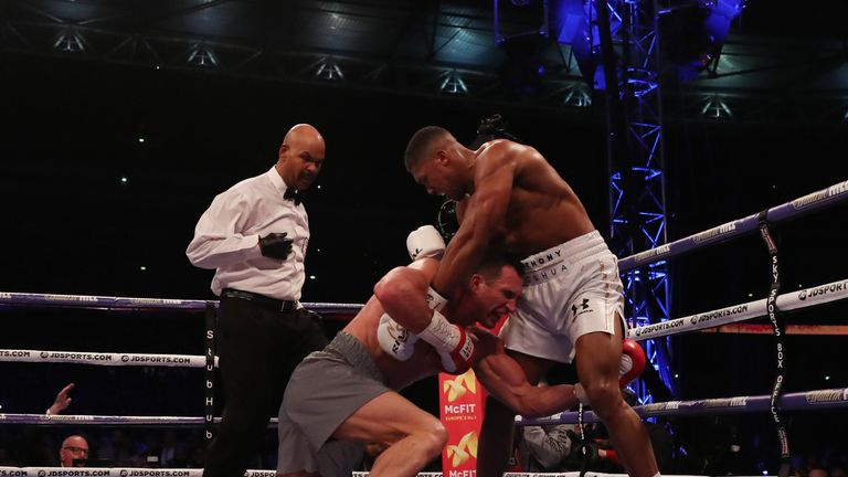 Joshua knocked down Klitschko in the fifth round