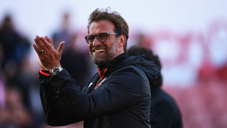 STOKE ON TRENT, ENGLAND - APRIL 08: Jurgen Klopp, Manager of Liverpool shows appreciation to the fans after the Premier League match between Stoke City and