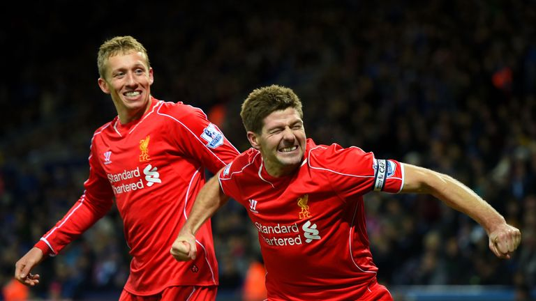 Steven Gerrard and Lucas Leiva celebrate a Liverpool goal