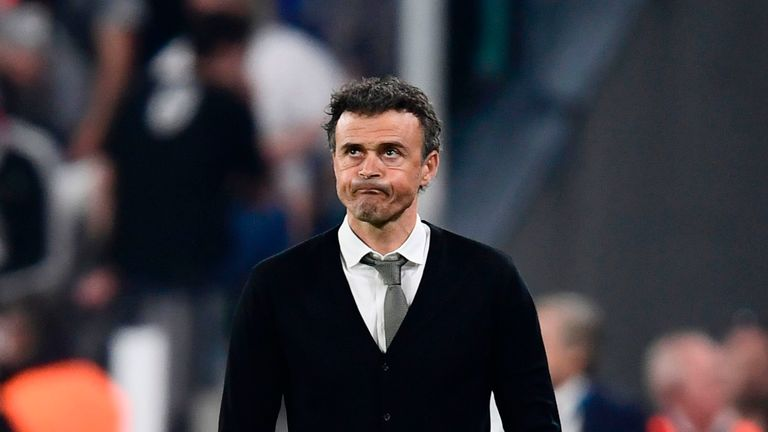 Barcelona's coach Luis Enrique reacts during the UEFA Champions League quarter final first leg football match Juventus vs Barcelona, on April 11, 2017 at t