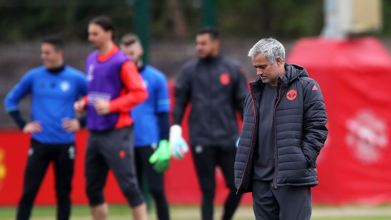 Jose Mourinho during a training session at the AON Training Complex