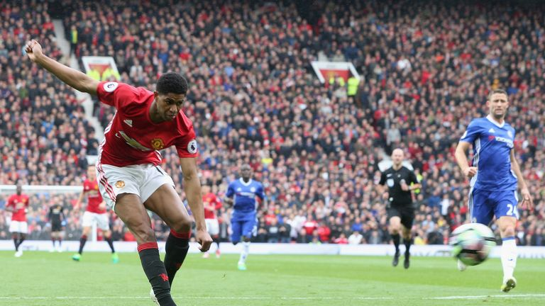 Marcus Rashford scores the opening goal during the Premier League match between Manchester United and Chelsea at Old Trafford