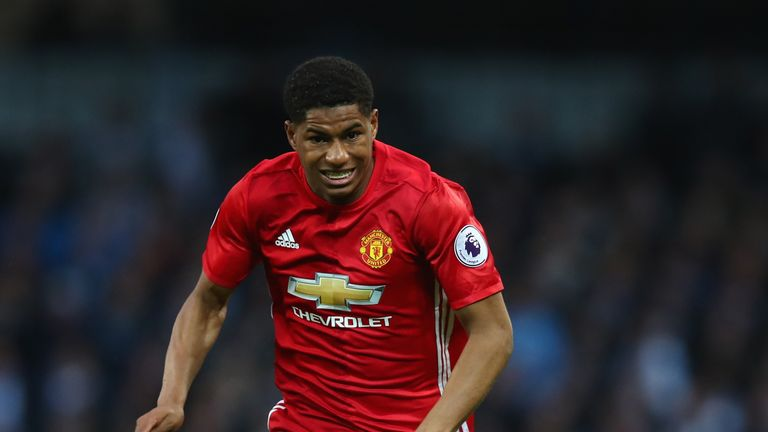 MANCHESTER, ENGLAND - APRIL 27:  Marcus Rashford of Manchester United in action during the Premier League match between Manchester City and Manchester Unit