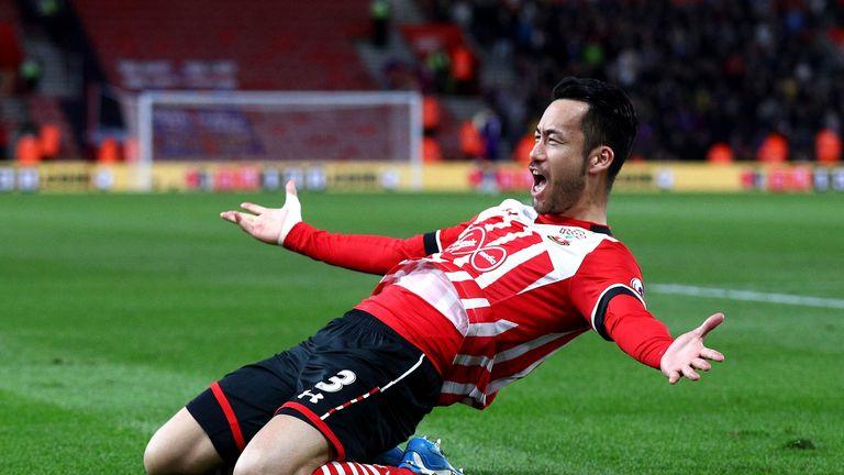 Maya Yoshida celebrates after his goal gives Southampton 2-1 lead at St Mary's