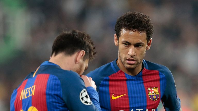 TURIN, ITALY - APRIL 11:  Neymar Jr of FC Barcelona (R) and his teammate Lionel Messi show their dejection during the UEFA Champions League Quarter Final f