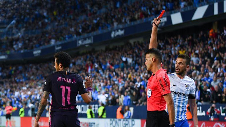 Neymar sees red