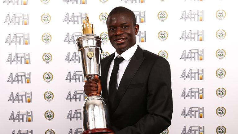 Chelsea's N'Golo Kante with the PFA Players Payer of the Year award