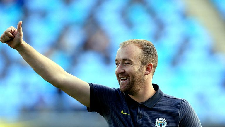 Nick Cushing manager of Manchester City Women at The Academy Stadium on October 2, 2016 in Manchester, England