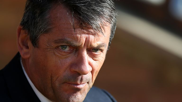 Southend United manager Phil Brown before kick off of the Sky Bet League One match at Roots Hall, Southend-on-Sea.