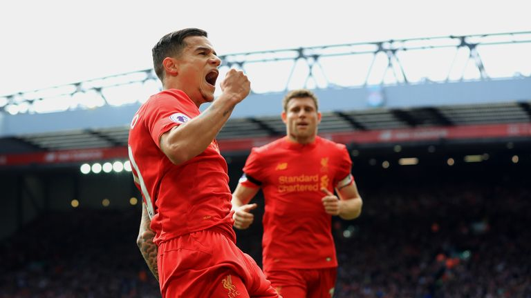 Liverpool's Philippe Coutinho celebrates scoring his side's second goal during the Premier League match at Anfield, Liverpool.