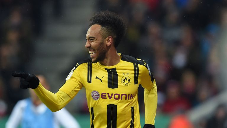 Dortmund's Gabonese striker Pierre-Emerick Aubameyang celebrates after the second goal for Dortmund during the German Cup DFB Pokal semifinal football matc