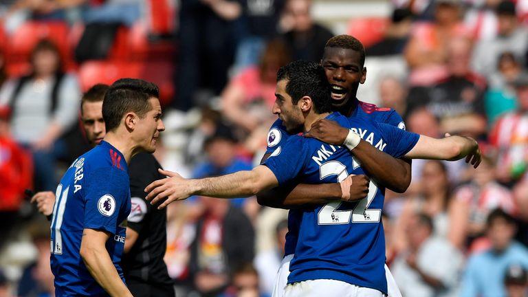 Paul Pogba congratulates Henrikh Mkhitaryan after he scored Man Utd's second goal against Sunderland
