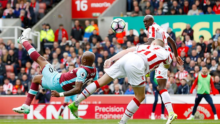 West Ham United's Andre Ayew makes an overhead kick during the Premier League match at the bet365 Stadium, Stoke