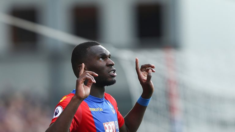 Christian Benteke celebrates scoring Crystal Palace's equaliser