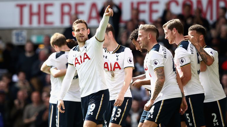 Vincent Janssen celebrates after scoring a fourth for Tottenham in injury-time