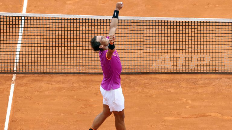 Nadal celebrates the moment he sealed victory