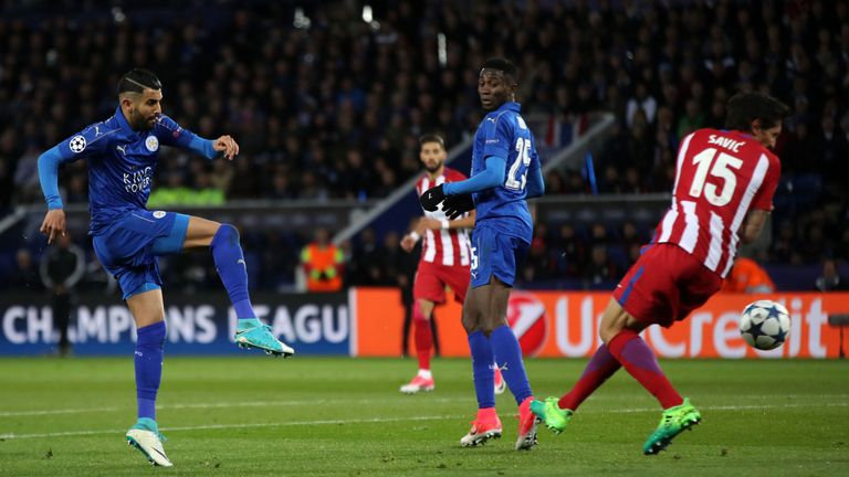 Mahrez in Champions League action against Atletico Madrid