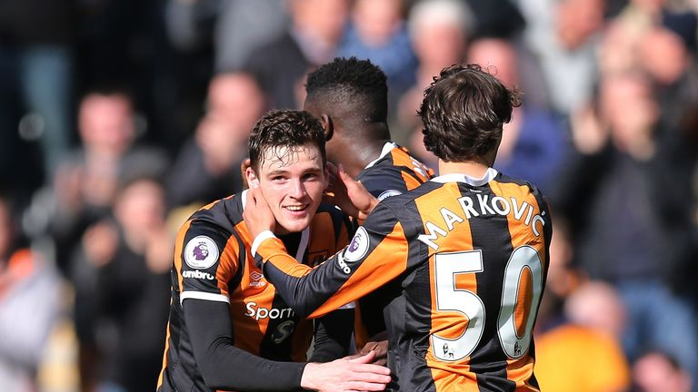 Andy Robertson celebrates a Hull goal with Lazar Markovic last season