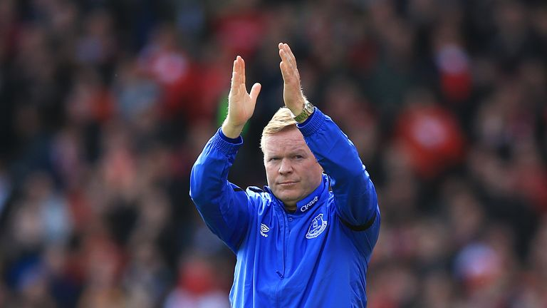 Everton manager Ronald Koeman applauds the fans after the Premier League match at Anfield, Liverpool.