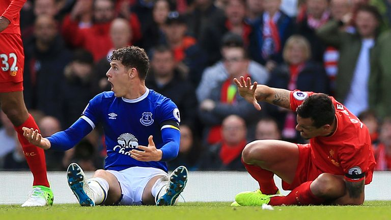Everton's Ross Barkley protests his innocence after a challenge on Liverpool's Dejan Lovren during the Premier League match at Anfield, Liverpool.