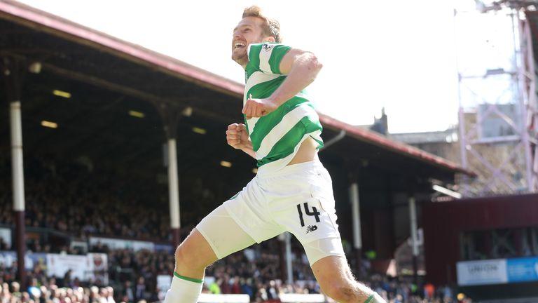 Stuart Armstrong of Celtic celebrates scoring at Tynecastle