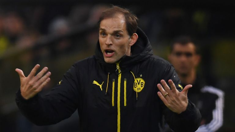 Dortmund's head coach Thomas Tuchel reacts from the sidelines during the UEFA Champions League 1st leg quarter-final football match BVB Borussia Dortmund v