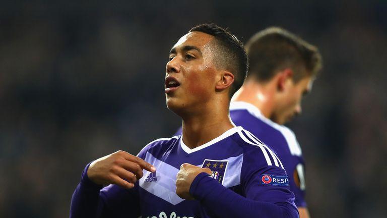 Youri Tielemans celebrates in Europa League