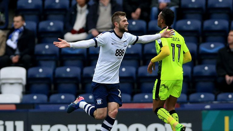 Preston North End's Tom Barkhuizen celebrates after he scores his sides first goal during the Sky Bet Championship match at Deepdale, Preston.