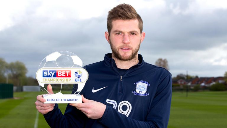 Tom Barkhuizen of Preston North End wins the Sky Bet Championship Goal of the Month award