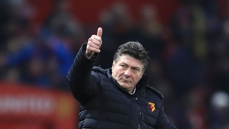 MANCHESTER, ENGLAND - FEBRUARY 11:  Walter Mazzarri, Manager of Watford gives the thumbs up after the Premier League match between Manchester United and Wa