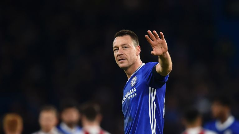 John Terry waves at the final whistle of the FA Cup fourth round match against Brentford