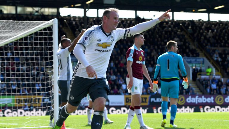 BURNLEY, ENGLAND - APRIL 23:  Wayne Rooney of Manchester United celebrates after scoring his team's second goal during the Premier League match between Bur